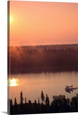 Floatplane Landing at Sunset on Lake Matanuska Valley, Alaska