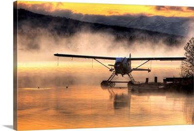 Floatplane sitting on Beluga Lake, Homer, Kenai Peninsula, Alaska,
