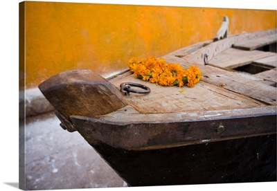 Flowers On Top Of Wooden Canoe, Varanasi, Utter Pradesh, India
