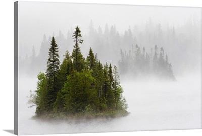 Fog And Rain Around An Island In Fenton Lake, Ontario, Canada