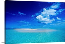 French Polynesia, Bora Bora, View Of Turquoise Lagoon Sand Bar In Center Of Water
