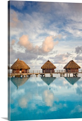 French Polynesia, Pearl Resort, Bungalows Over Beautiful Turquoise Ocean
