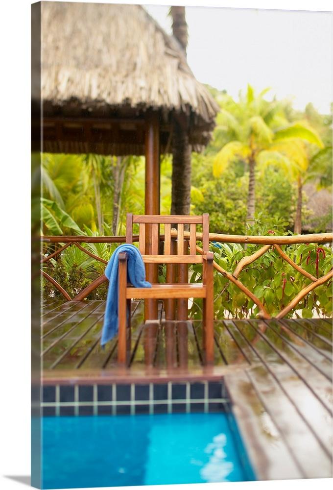 French Polynesia, Tahiti, Bora Bora, Deck Chair With Towel Hanging Over It