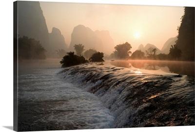 Frozen Pond In Mountain Area, Yulong River, Yangshuo, China