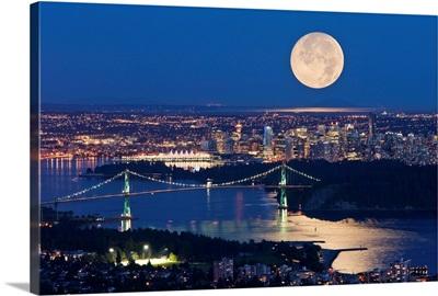 Full Moonrise Over Vancouver, British Columbia, Canada