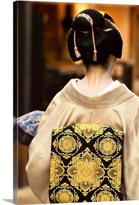 Geisha Showing Her Nape Make-Up And Obi, Kyoto, Japan