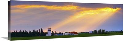 God Beams Over Prairie Farm