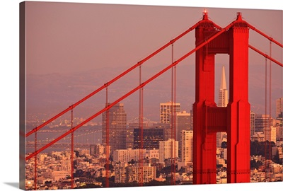 Golden Gate Bridge With City Of San Francisco, California Coast, USA