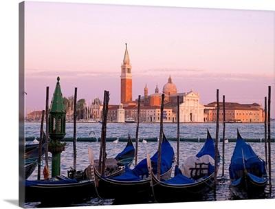 Gondolas On Grand Canal, Church Of St. Giorgio Maggiore In Background, Venice, Italy