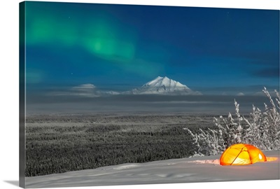 Green Aurora Borealis over Mount Drum and the Copper River Valley, South-central Alaska