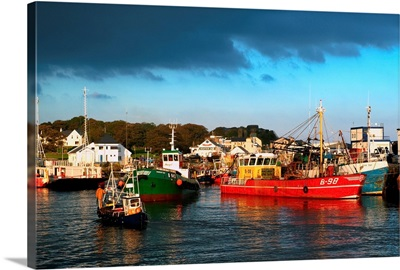 Greencastle, County Donegal, Ireland; Boats In Harbour