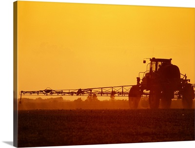 Ground application of herbicide on early growth grain corn in late afternoon light