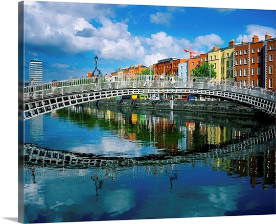 ha penny bridge river liffey dublin ireland wall art canvas