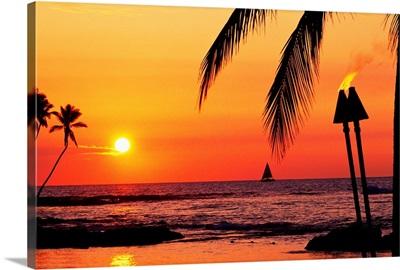 Hawaii, Big Island, Kohala, Waiulua Bay, Sunset With Palm Trees, Sailboat, And Torches