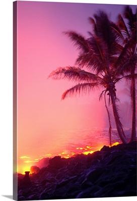 Hawaii, Big Island, Lava Flowing Into Ocean Near Palm Trees