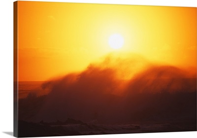 Hawaii, Big Waves At Sundown