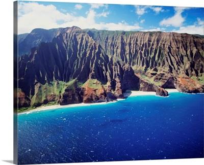 Hawaii, Kauai, Na Pali Coast, Aerial Along Coastline, Rugged Cliffs And Ocean