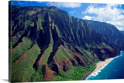 Hawaii, Kauai, Na Pali Coast, Aerial View Along Mountains