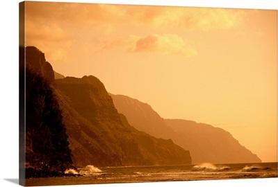 Hawaii, Kauai, Na Pali Coast, Sunset, Orange Hues