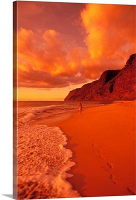 Hawaii, Kauai, Polihale State Park Beach At Sunset, Back View Of Woman Walking