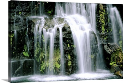 Hawaii, Maui, closeup of waterfall cascading motion