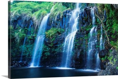 Hawaii, Maui, Hana Coast, Waterfall Flows Into Blue Pool