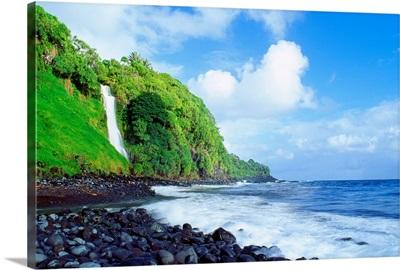 Hawaii, Maui, Hana, Pokupupu Point And Waikani Falls Going Into Ocean