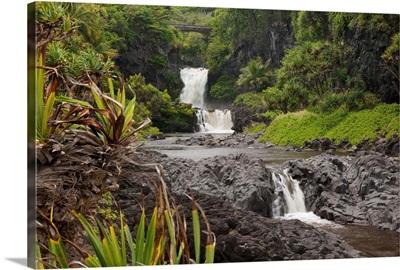 Hawaii, Maui, Hana, Seven Sacred Pools, a large stream and waterfalls