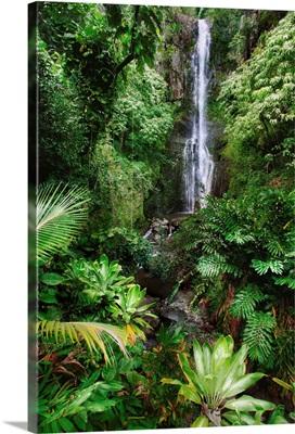 Hawaii, Maui, Hana, Wailua Falls, Beautiful Afternoon Light On Waterfall