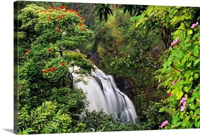 Hawaii, Maui, Hana, Waterfall Surrounded By Tropical Flowers And Plants