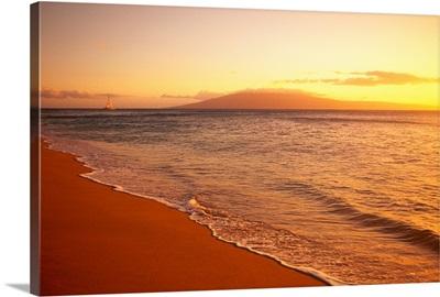Hawaii, Maui, Hazy Orange Sunset Over Ka'anapali Beach, Gentle Waves