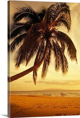 Hawaii, Maui, Kamaole Beach, At Sunset, Two Women Walk Along Shoreline