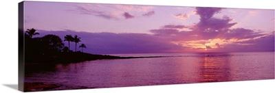 Hawaii, Maui, Kapalua Beach, Purple Sunset Over Ocean