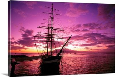 Hawaii, Maui, Lahaina Harbor, Carthaginian Ship At Sunset