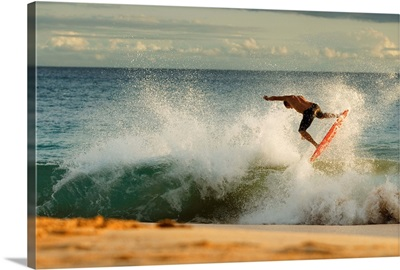 Hawaii, Maui, Makena - Big Beach, Man Skimboarding