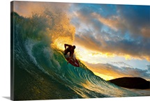 Hawaii, Maui, Makena - Big Beach, Skimboarder Carving Turquoise Wave