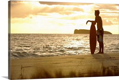 Hawaii, Maui, Makena, Skimboarder Silhouette At Sunset