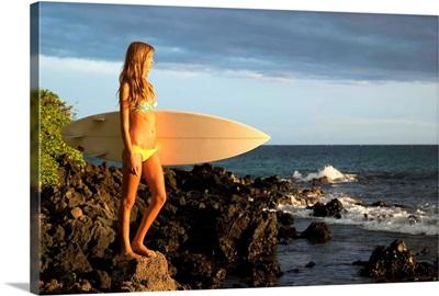 Hawaii, Maui, Makena, Surfer Girl Standing On Rocks At Sunset