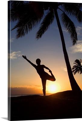 Hawaii, Maui, Olowalu, Woman Doing Yoga At Sunset Under Palm Trees