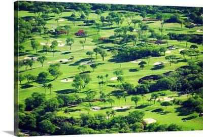 Hawaii, Maui, Wailea, Aerial Of Wailea Gold And Emerald Golf Courses