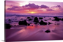 Hawaii, Molokai, West Shore, Sunset On Horizon