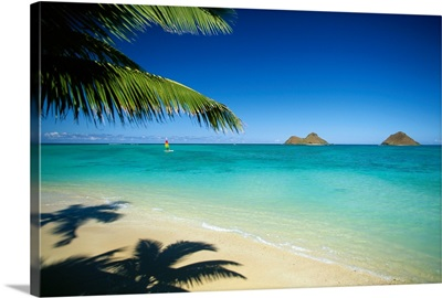 Hawaii, Oahu, Lanikai Beach, Hobie Cat Sailing Near Mokulua Island