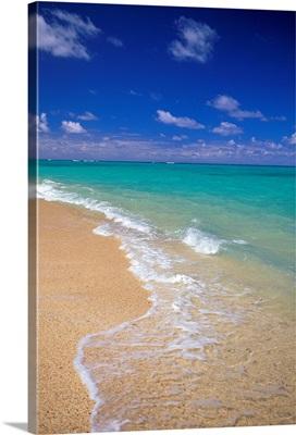 Hawaii, Oahu, Lanikai Beach Shoreline With Beautiful Turquoise Ocean