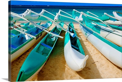 Hawaii, Oahu, Lanikai, Outrigger Canoes Stacked Along The Beach