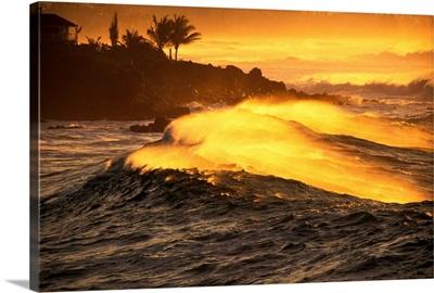 Hawaii, Oahu, North Shore, Coastline At Sunset