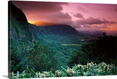 Hawaii, Oahu, Nuuanu Pali State Park, Ko'olau Mountains