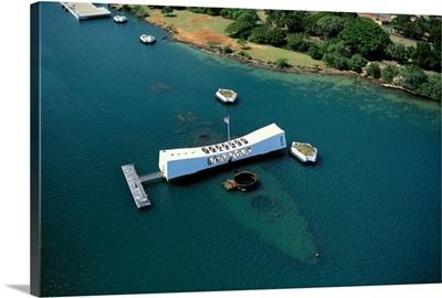 Hawaii, Oahu, Pearl Harbor, Arizona Memorial Aerial View
