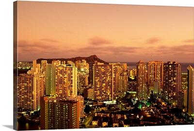 Hawaii, Oahu, Waikiki, Skyline At Twilight, Pink Clouds And Golden Hues