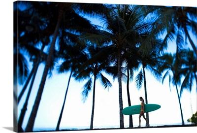 Hawaii, Oahu, Waikiki, Woman Walking With Surfboard