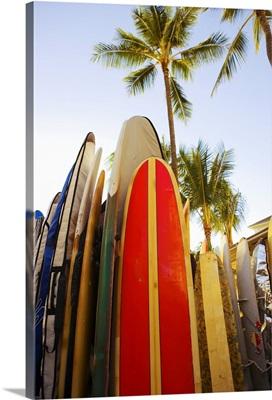 Hawaii, Oahu, Waikiki,Colorful Surfboards In Surfboard Rack On Waikiki Beach